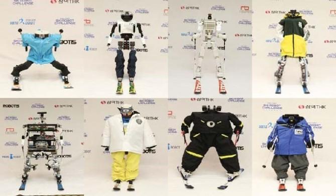왼쪽 위부터 미니로봇(태권브이), 한양대(다이애나), 명지대(MHSRP), 국민대(RoK-2), 서울과기대(루돌프), KAIST(티보), 경북대(알렉시), 로봇융합연구원(스키로). - 한국로봇산업진흥원 제공